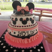Disney Minnie Mouse Themed Birthday Cake Crusting Buttercream..bottom layer...buttercream yellow cake w/ bavarian cream filling. Middle layer...German Chocolate w/ coconut cream...