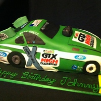 Nhra Car Cake Cho cake covered in fondant. Hand painted decals on edible paper.