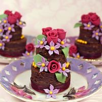 Tiered Chocolate Brownies Decorated With Sugar Flowers Tiered chocolate brownies decorated with sugar flowers