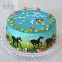 Black Horses Childrens birthday cake, fondant covered, colored by airbrush, desorated with fondant and royal icing.