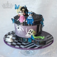 For Admirer Of Tim Burton  Birthday cake for 27 years young lady who loves Tim Burton's movies. Slightly topsy turvy by design, fondant covered, painted...