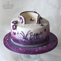 Violetta Music Star   Birthday cake for young girl who loves Violetta serie. Fondant covered, colored by airbrush and decorated with fondant and royal icing.