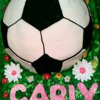 Fondant Soccer Ball On Buttercream Field Of Flowers *Fondant soccer ball on buttercream field of flowers