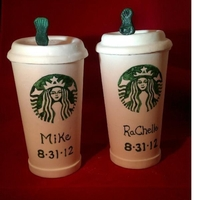 Starbucks Cups Gumpaste Starbucks cups for a groom's cake
