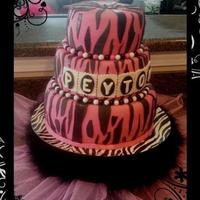 Pink/black Zebra *Pink and black zebra with Fluted cutout letters