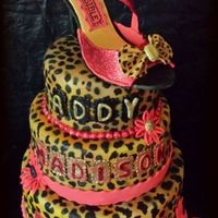 Cheetah Print 2 Tier With Gumpaste Shoe Topper *Cheetah print 2 tier with gumpaste shoe topper