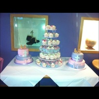 Christening Tiered Chocolate Cakes And Cupcake Tower Christening tiered chocolate cakes and cupcake tower