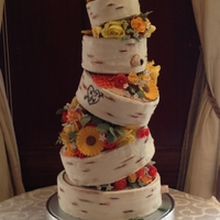 Birch Wedding Cake My first wedding cake for my niece's wedding. She wanted something that looked like birch tree logs