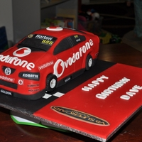 V8 Supercar (Race Car) Race car cake. Choc mud cake with choc ganache. My 1st car cake!