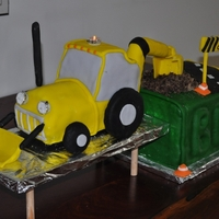 Digger! Digger cake I made for my son's 2nd birthday. Even had a flashing orange light on top!
