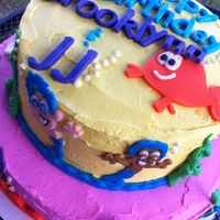 Bubble Guppies top tier is a 2 layer limeade cake, bottom tier is strawberry cake, covered in all vanilla buttercream with fondant decorations