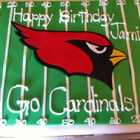 Az Cardinals rich chocolate cake, chocolate buttercream and sugared strawberries between layers