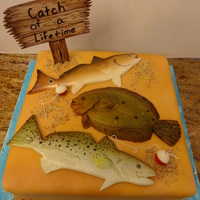 """catch Of A Lifetime"" Grooms Cake Chocolate Cake/Buttercream/MMF-fish/gumpaste sign"