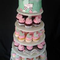 Its A Girl! Pink And Green Baby Buggy Baby Shower Cake And Cupcakes