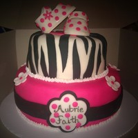 Hot Pink & Zebra Baby Shower Cake My 1st stacked cake. I have much more practice!