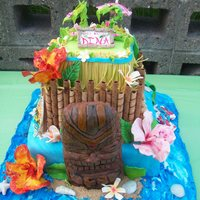 Dina's Birthday Cake This is a 3 tier cake with fondant and gumpaste decorations. The tiki head is a rkt.