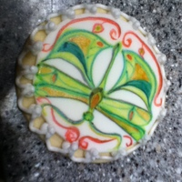 Butterfly This is a painted fondant cookie with piped RI.