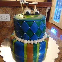 "Golf Birthday Cake Gumpaste golf cart topper on the ""29th"" hole."