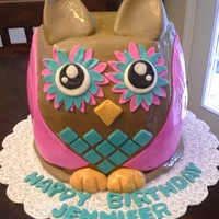 3D Owl Cake 3D Owl...6 layers! Homemade fondant.