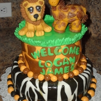 Jungle-Ish Baby Shower Cake Homemade marshmellow fondant, homemade custom gumpaste toppers. My 10th cake!!