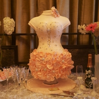 Dress Cake We made an exact replica of the bride-o-be's dress.