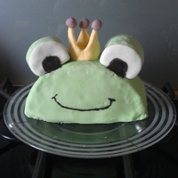 King Frog Birthday cake iced with sugarpaste.