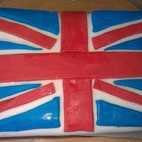 Union Jack Cake Sponge cake iced with coloured sugarpaste for the British Diamond Jubilee.