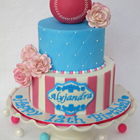 Baseball & Bubblegum A bright and cheerful Birthday cake for a girl who loves baseball