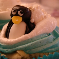 Penguins Lemon Cupcakes White Meringue and Blue buttercream for those sugar penguins, seals and igloos.