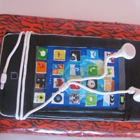 Ipod Touch Ipod touch cake made out of white mud cake and chocolate mud cake then filled and covered in milk choc ganache. Apps, and all decoration...