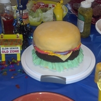 Hamburger Cake I made this for my husband's 30th birthday party.