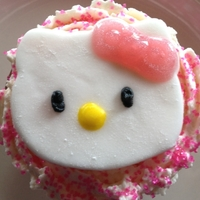 Hello Kitty Cupcake Hello Kitty made out of fondant