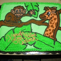 Jungle Themed Baby Shower Cake Done for a baby shower with a jungle theme...Everyone thought it was really cute!