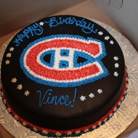 Montreal Canadians Cake Birthday cake for my boss...He gets the same one every year. :)