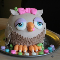 Birthday Cakes Owl birthday cake for my youngest kiddo. The multi colored fondant balls in front were for the candles. The birthday girl requested a...