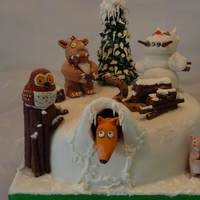 """the Gruffalo's Child Was Feeling Brave.. So She Tiptoed Out Of The Gruffalo Cave"" Christmas cake made for a charity raffle.. It is the most popular book in our house :) thank you for looking."