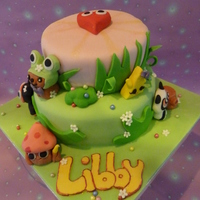 Moshi Monsters Raspberry and white chocolate cake with white chocolate ganache.