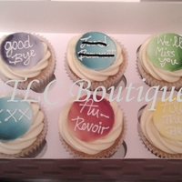 Goodbye Cupcakes! These were made for a work colleague as a leaving gift from the team. I airbrushed gumpaste discs and piped goodbye phrases and the persons...