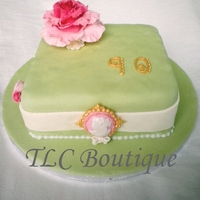 Antique Cameo Rose 90Th Birthday Cake This is a 90th birthday cake for my neighbour. The cake is a fruitcake covered only in fondant as they didnt want marzipan, so excuse the...