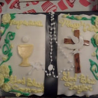 First Communion/confirmation Bible Cake  Both my son and daughter were making their Confirmation and 1st Communion the same weekend. Making two cakes was just too much work, but a...