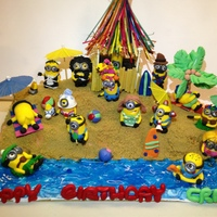 Minion Beach Theme Cake