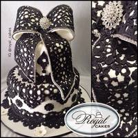 Love Lace Black Lace Birthday Cake Dramatized With An Oversized Bow   Love Lace!Black Lace Birthday Cake, Dramatized with an Oversized Bow!