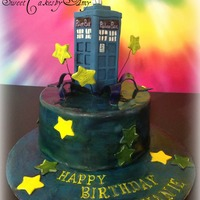 Dr. Who Tardis Cake! This was a small 6'' round Lemon cake with Raspberry filling hand painted with variety of colors to make it out-of-this-world....
