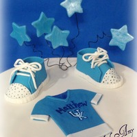 Uk Baby Shower Cake University of Kentucky baby shower cake. Shoes, rattle, and blocks made from gumpaste. Laces hand rolled. Jersey fondant.