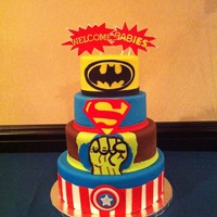 Superheroes Baby Shower Cake Superheroes baby shower cake.