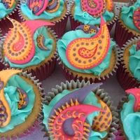 Indian Style Cupcakes MMF pasiley cutouts piped with buttercream.