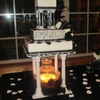 Black And White Wedding 3 tier buttercream squares14in 10 in and 6 in