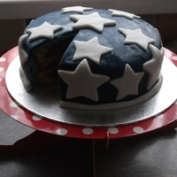 Star Spangled Cake Cake made by myself and my husband for the 4th of July.