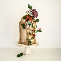 Antique Birdcage With Assorted Sugarflowers Antique metallic birdcage with assorted sugar flowers like peony, calla lilies, blossoms, berries, buds and leaves. My online class of this...