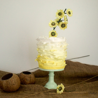 Sunflowers Frill Cake Ombre Lemon frills cake with sugar sunflowers